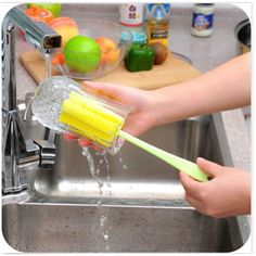 Popular Sponge Brush Baby Bottle Brush Cup Glass Washing Cleaning Kitchen Cleaner Tool