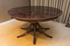 Walnut Curl Expanding Circular Dining Table — Johnson Furniture Expanding Round Table, Circular Dining Table, Cabinet Making, Bespoke Furniture, Home Decor, Style, Woodworking, Swag, Decoration Home