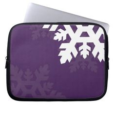 Bright, White Snowflakes against Purple Laptop Sleeves