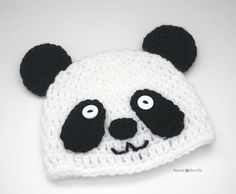 Repeat Crafter Me: Crochet Panda Bear Hat - free pattern in all sizes from newborn to adult!