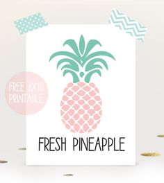 Pineapple wall art print - free printable download for summer