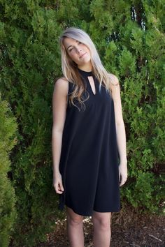 Fenwick Dress // This black, a-line dress has a high-neck and glamorous key-hole detail in the front & back // $44