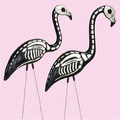 Skeleton Yard Flamingos
