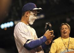 Anthony Rizzo gets shaving cream in the face after getting the game-winning hit against the Mets in his Cubs debut. 6/26/12