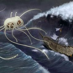 """FSM saves by Miłek Jakubiec """"And a horrible storm shook and wobbled the mighty Pirate galleon, and all the pirates trembled in fear. But the brave and pious captain said upon them: """"fe'Arr not me mateys! Tharr be rescue in the mighty FSM! Stormy Waters, Flying Spaghetti Monster, Shot In The Dark, Tentacle, Cthulhu, Atheist, Pretty Pictures, New Zealand, Illustrators"""