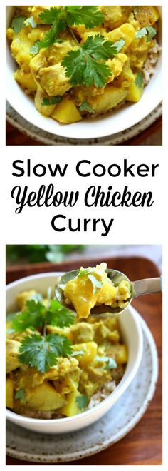 Slow Cooker Yellow Chicken Curry: a thai-style coconut curry with moist bites of chicken, tender bites of yellow potatoes, vibrant turmeric and curry powder all made easily at home in your slow cooker (Slow Cooker Chicken Curry) Slow Cooker Huhn, Slow Cooker Recipes, Crockpot Recipes, Cooking Recipes, Healthy Recipes, Healthy Foods, Chicken Recipes, Whole30 Recipes, Detox Recipes