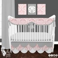 Pale Pink, White and Gray Designer Created Crib Set. Custom crib rail cover or baby bumper, designer baby blanket, crib skirt, fitted crib sheet, window panels, wall art, changing pad cover and custom monogramming.