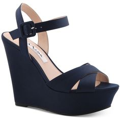 Nina Jinjer Platform Evening Wedge Sandals ($89) ❤ liked on Polyvore featuring shoes, sandals, new navy, strappy platform sandals, strappy sandals, navy wedge sandals, wedge shoes and navy strappy sandals