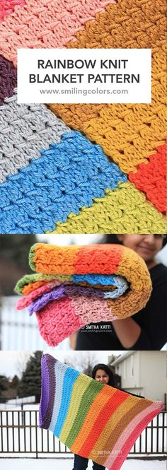 A colorful Rainbow Knit Blanket Pattern that is easy to make with an unique texture/stitch.