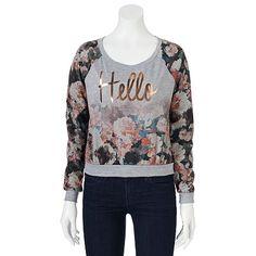 """Romantic Rebel Floral """"Hello"""" Crop Tee - Juniors"""