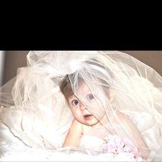 Baby in Mamas Wedding dress:)
