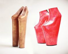 Sapatos ''Circus'' e ''Lady Vase'', de Noritaka Tatehana, de forma reminescente dos Choupines utilizados pelas senhoras no início da Idade Moderna como diferenciador de classe social.