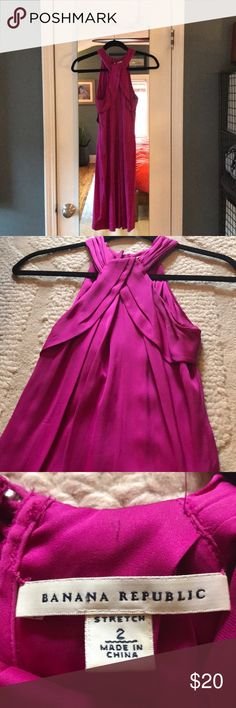 Fuscia silk Dress Banana Republic cocktail or party dress, keyhole back with silk-wrapped buttons, worn twice. Flattering on every body type! Two small stains, unnoticeable to naked eye. Banana Republic Dresses Mini