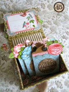 Maria fills her altered Botanical Tea ATC Book Box with tea bags handmade with our new ATC Tag Staples! What a great idea! #graphic45