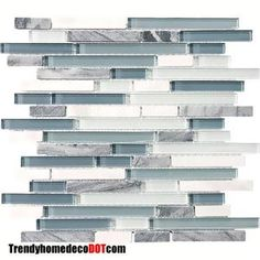 marble and glass tile | SF Blue White Marble Glass Mosaic Tile Backsplash Kitchen Wall ...