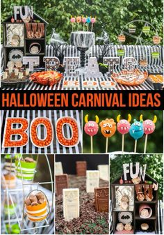 Love all of these Halloween carnival ideas especially this awesome Halloween carnival dessert table! Halloween Carnival Games, Halloween Games For Kids, Halloween Circus, Creepy Carnival, Fall Carnival, Carnival Ideas, Toddler Halloween, Halloween Birthday, Halloween Party Decor