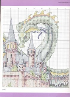 The Castle (Theresa Wentzler) From Cross Stitch Gold 4 of Dragon Cross Stitch, Fantasy Cross Stitch, Cross Stitch Fairy, Cross Stitch Kits, Cross Stitch Designs, Cross Stitch Patterns, Cross Stitching, Cross Stitch Embroidery, Cross Stitch Boards
