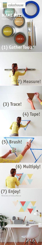 【设计】你知道其实利用胶带和油漆就可以拥有个独一无二的墙设计吗??来,介绍你这些几何图形设计的墙!