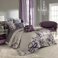 This watercolor floral duvet cover set features a luxurious floral motif of whimsical plums, purples and greens. The large floral design creates the feeling of a hand painted work of art and adds a splash of glamour to your bedroom.