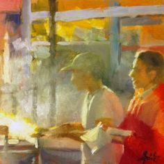 Streetfood, painting by artist Liza Hirst