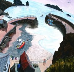 View the painting: Mullion Cove, Lizard Peninsular by Francis Farmar Seaside Art, British Seaside, Seaside Towns, John Galliano, Steve Madden, Naive Art, Artist At Work, Cornwall, Painting & Drawing