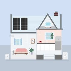 Perfect color palette + environmentally sustainable features = Dream House! (3/3)  We're in love with how the illustrations from our most recent infographic with @neefusa_org @realtor turned out!  #illustration #design #environment #clientwork #acreativedc #colors #dreamhouse #infographic #vector #pastels #minimal