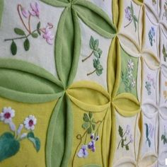 .cathedral windows with embroidery - lovely!
