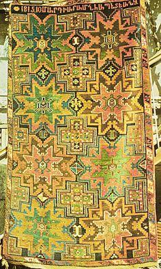 Armenian ARTSAKH (Karabagh) carpet, with cross and star design. Armenian inscription of (Museum of Folk Art,Erevan). Diy Carpet, Magic Carpet, Modern Carpet, Rugs On Carpet, Carpet Ideas, Textile Pattern Design, Abstract Pattern, Armenian Culture, Interior Rugs