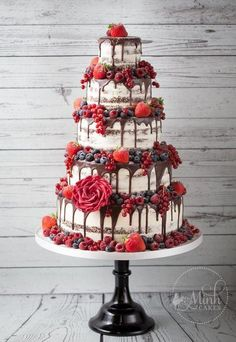 Naked wedding cake, wedding cake trends, 2018 wedding cakes - my wedding . - Naked wedding cake, wedding cake trends, 2018 wedding cakes – my wedding … – cake – - Big Wedding Cakes, Wedding Cake Decorations, Beautiful Wedding Cakes, Wedding Cake Designs, Beautiful Cakes, Red Velvet Wedding Cake, Berry Wedding Cake, Wedding Cakes With Fruit, Magical Wedding