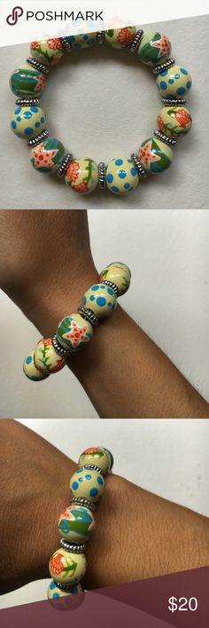 Angela Moore Classic Bracelet hand painted, classic beaded bracelet, nautical, golden accents Angela Moore Jewelry Bracelets
