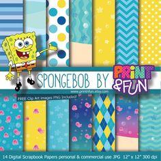 Digital Paper Spongebob Patrick Sandy clip art Background Patterns bikini bottom Party Printables bottle labels favours party hat toppers on Etsy, $4.40 AUD