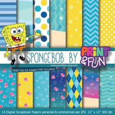 Digital Paper Spongebob Patrick Sandy clip art Background Patterns bikini bottom Party Printables bottle labels favours party hat toppers on Etsy, $4.40 AUD