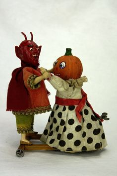 Antique German Halloween Wind Up Devil and Pumpkin Head Dancers Ca1910 | eBay