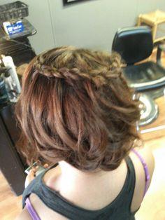 side updo with crown waterfall braid hair