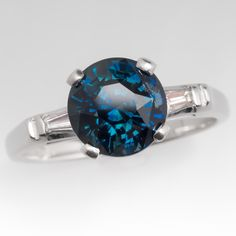 Teal Blue Green Sapphire Engagement Ring Platinum w/Tapered Baguette Diamonds