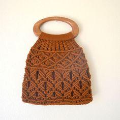 Vintage Macrame Tote Double Wooden Handle Fabric Lined Brown Hippie Boho Tote Boho Hippie, Macrame Purse, Boho Vintage, Yarn Bag, Bobble Stitch, Macrame Projects, Crochet Handbags, Textiles, Wooden Handles