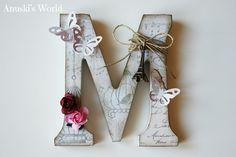 Wood Letter Crafts, Alphabet Letter Crafts, Wood Letters, Letter Art, Monogram Letters, Wooden Monogram, Crafts To Sell, Diy And Crafts, Arts And Crafts