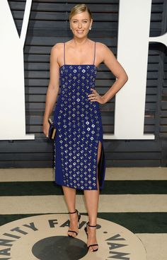Maria Sharapova wearing David Koma Spring 2017 embellished dress to the 2017 Vanity Fair Oscar Party Hosted by Graydon Carter at the Wallis Annenberg Center for the Performing Arts on February 26, 2017 in Beverly Hills, California.