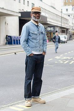 """Jason Jules, 50 """"I'm wearing a vintage Lee Rider jacket, Red Wing boots and new jeans. I'm also wearing a hat from my brand, House of Garmsville. Denim Fashion, Look Fashion, Male Fashion, Fashion Styles, Street Fashion, Men Street, Street Wear, American Casual, Gentlemen Wear"""