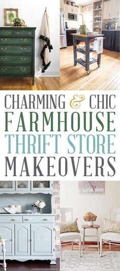 Charming and Chic Farmhouse Thrift Store Makeovers that will totally inspire you to create!  You will learn tips, tricks and technique to help you out with your own Thrift Store Makeovers!  Come on over and check out these beauties!  #ThriftStoreMakeover #FarmhouseThriftStoreMakeovers #Makeovers #Farmhouse #FurnitureMakeover