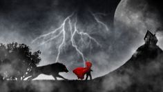 Little Red Riding Hood dark night by Hatanaz Photographie, via LOVE the wolf, but I wouldn't do red eyes Red Ridding Hood, Art Manga, Brown Art, Amy Brown, Big Bad Wolf, Fairytale Art, Red Hood, Dark Night, Little Red