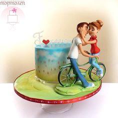 I'll make this cake on ur wedding 💓💓❤️ Take The Cake, Love Cake, Fondant Cakes, Cupcake Cakes, Cake Pops, Airbrush Cake, Bike Cakes, Fantasy Cake, Valentines Day Cakes