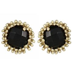 Kendra Scott Carly Faceted Crystal Button Earrings ($27) ❤ liked on Polyvore featuring jewelry, earrings, beaded jewelry, black earrings, kohl jewelry, black bead earrings and black jewelry