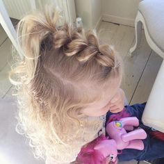 Cute pull-through braid o - Babys Hair-Styles Baby Girl Hairstyles, Princess Hairstyles, Pretty Hairstyles, Easy Toddler Hairstyles, Natural Hairstyles, Wedge Hairstyles, Bandana Hairstyles, Modern Hairstyles, Feathered Hairstyles