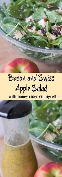 Bacon and swiss apple salad / tangy honey cider vinaigrette / homemade vinaigrette / salad / salad dressing / homemade salad dressing / spinach salad