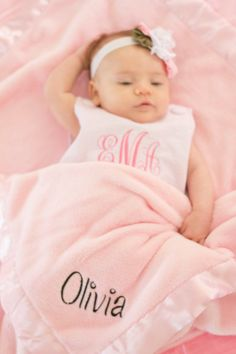 Personalized Baby Blanket for Girl or Boy by LoveBugEmbroidery, $32.00