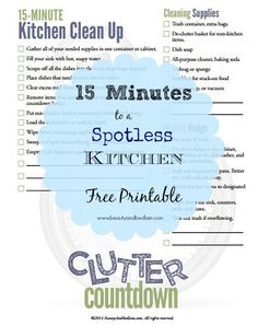 Perfect way to include the kids. This is a wonderfully easy and systematic way to keep that kitchen spotless. Great reminders. 15 Minute Kitchen Clean Up Checklist. Great tips! #organize