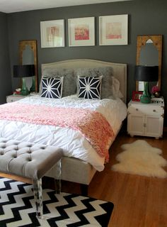 Grey & Pink bedroom; too much going on here all at once! but a few of the ideas on their own or paired with one or two others would be great!