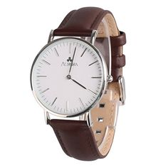Aurora Womens Casual Business Analog Quartz Waterproof Wrist Watch with Deep Brown Leather BandSilver *** Want additional info? Click on the image. (Note:Amazon affiliate link) #CoolandAffordableWatches