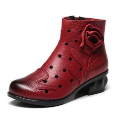 SOCOFY Handmade Flower Hollow Original Mid Heel Vintage Boots